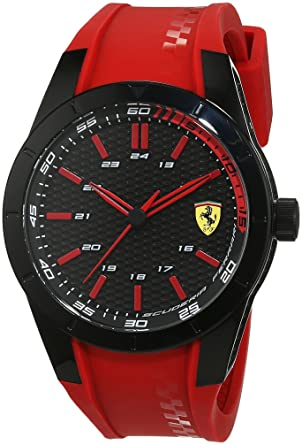 8e207be9696 Image Unavailable. Image not available for. Color  Ferrari 0830299 Men s  RedRev Black Dial Red Silicone Strap Watch