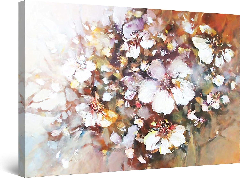 Startonight Cuadro Moderno en Lienzo Ramo de Flores Blancas - Pintura Naturaleza para Salon Decoración Grande 80 x 120 cm