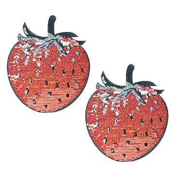 Gosear 2 Stk Cute Pailletten Erdbeere Muster Nähen Applique Patches ...