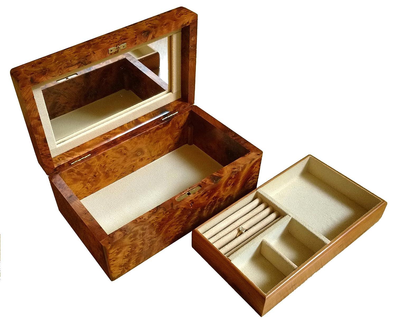 ladies handmade wooden jewellery trinket box with lock mirror and separate tray cream velvet lined bundu amazoncouk jewellery