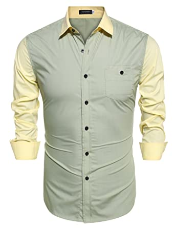 a96a86a9fcf2 Coofandy Men s Contrast Color Stitching Long Sleeve Button Down Dress Shirt  Green Small