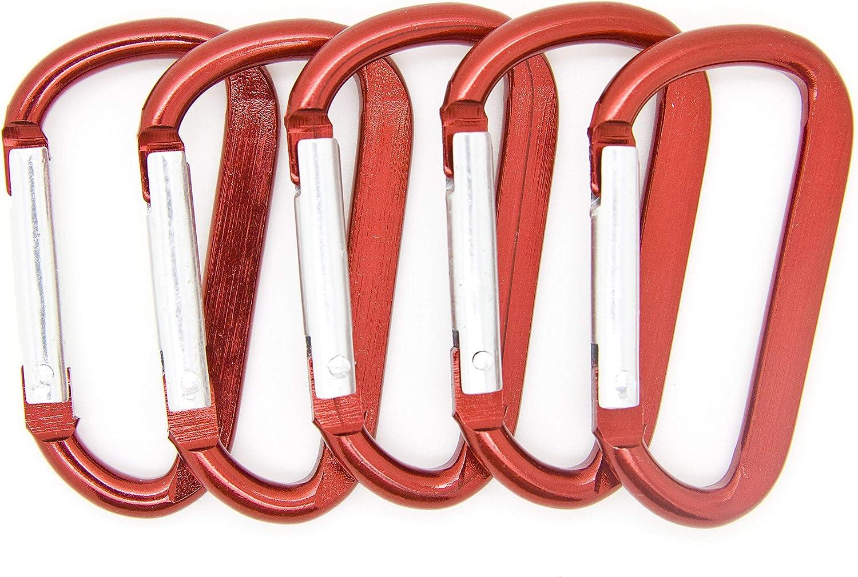 OnDepot.com 2 1/4 inch Red Key Carabiner Clip Aluminum Bulk D Clip for Belt 100 pcs