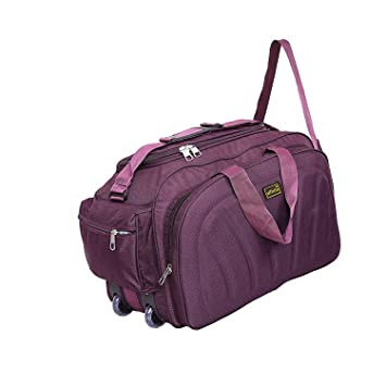 Alfisha Unisex Lightweight Waterproof Polyester Purple Travel Duffel Bag  Luggage with Roller Wheels  Amazon.in  Bags, Wallets   Luggage e3bbf99d50