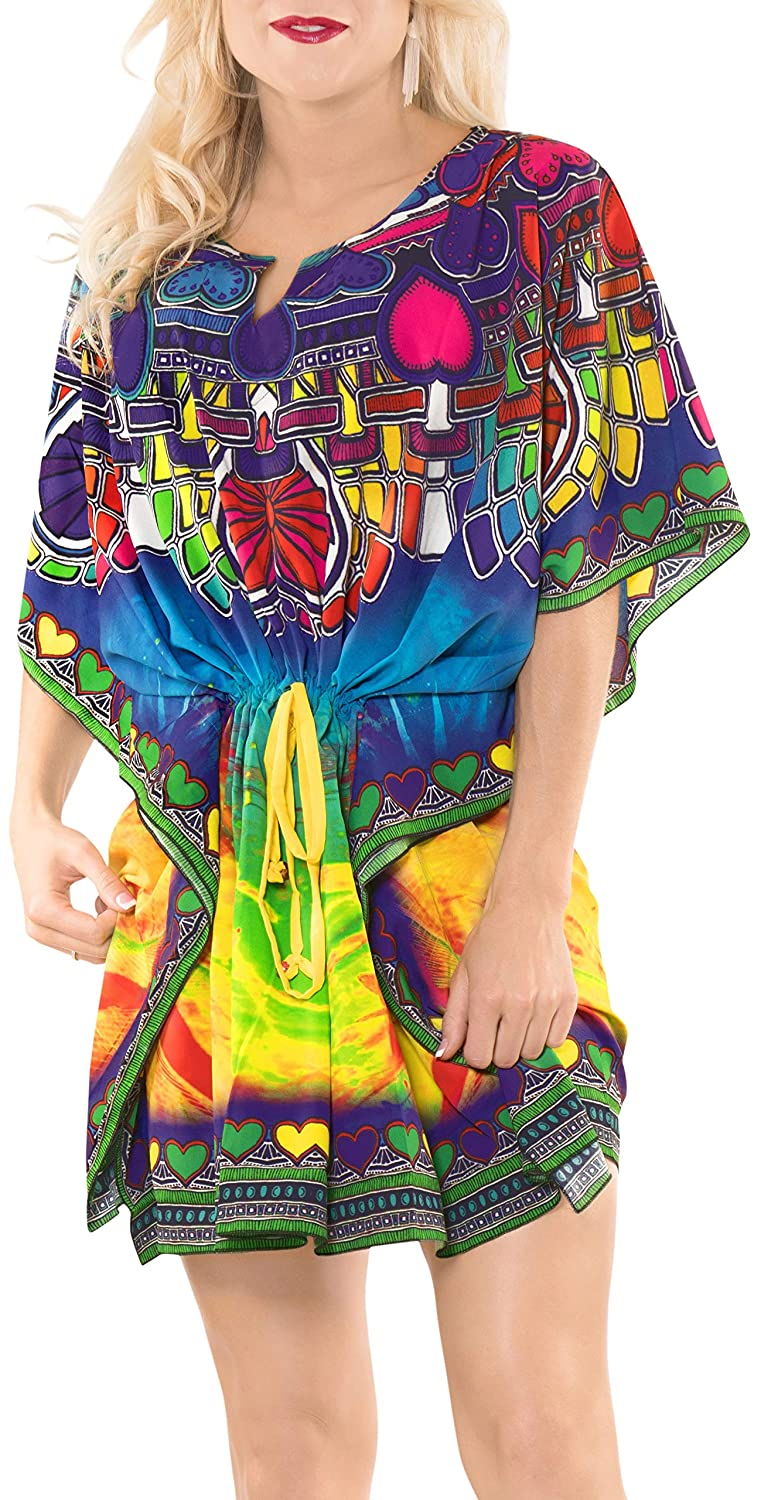 a93e13abbb210 LA LEELA Fabric Digital HD Cover up Beachwear OSFM 14-20 [L-2X]  Matching_2121 at Amazon Women's Clothing store: