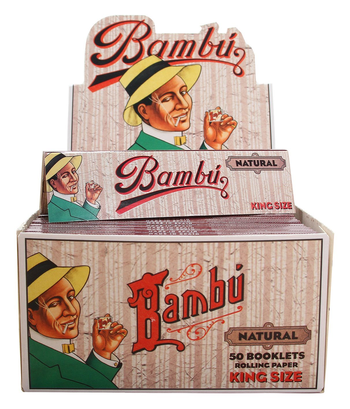 Bambu Natural King Size Rolling Papers, 50 Booklets