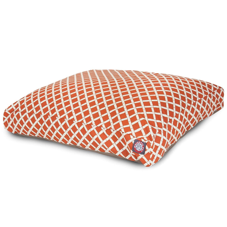 Burnt Orange SMajestic Pet Burnt Orange Bamboo Large Rectang Indoor Outdoor Pet Dog Bed con prodotti di copertura lavabili