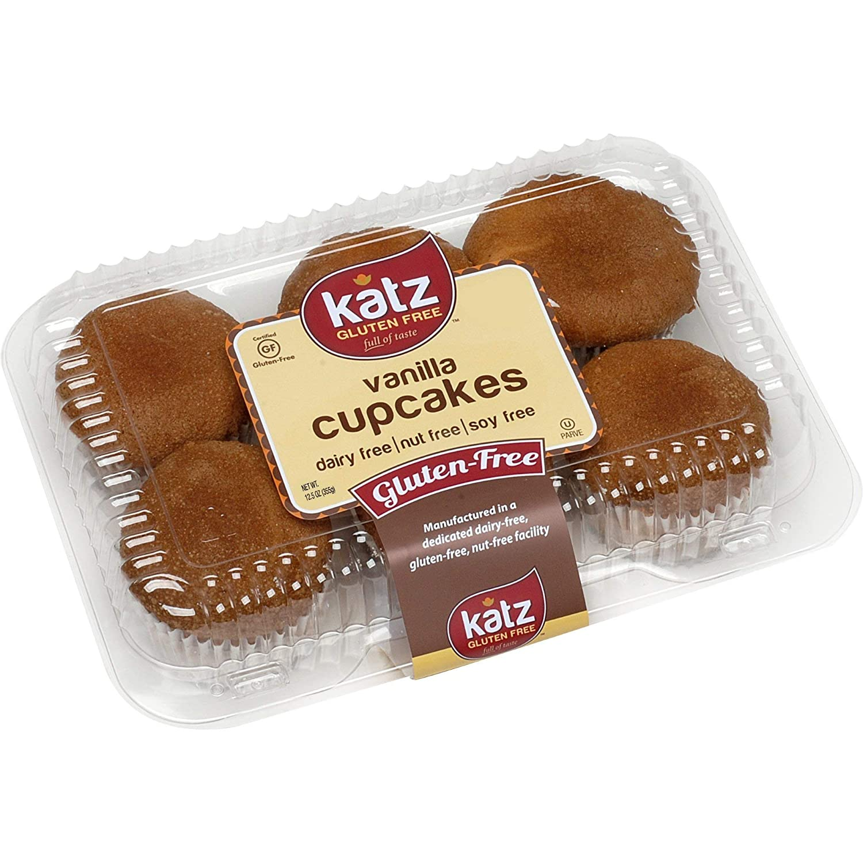 Katz Gluten Free Vanilla Cupcakes | Dairy, Nut, Soy and Gluten Free | Kosher (1 Pack of 6...