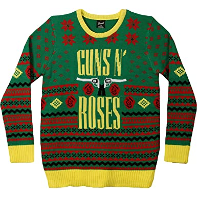 Amazon.com: Guns N Roses Men's GNR Big Guns Ugly Christmas Sweater ...
