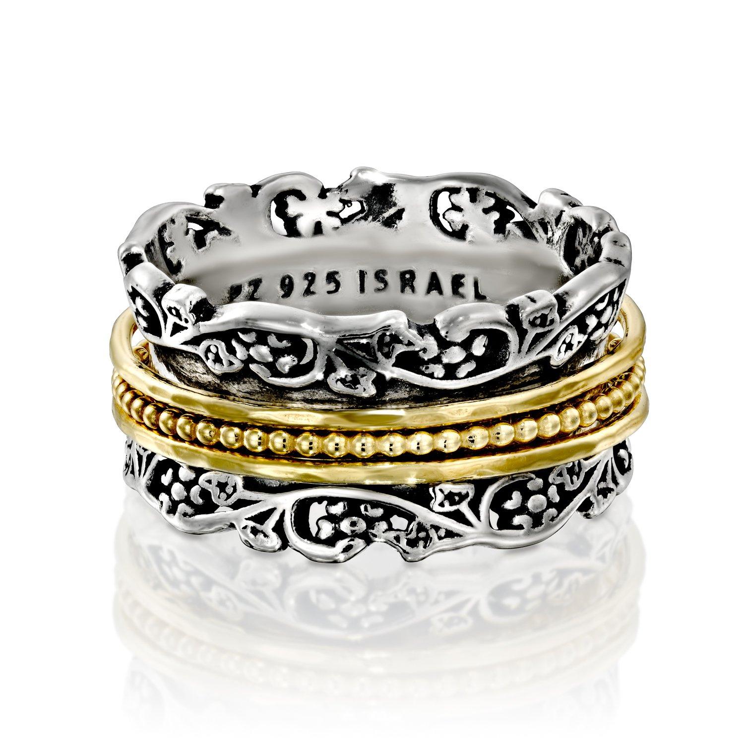 Paz Creations YG .925 Sterling Silver Ring With Gold Over Silver Spinners, Made in Israel (7) by PZ