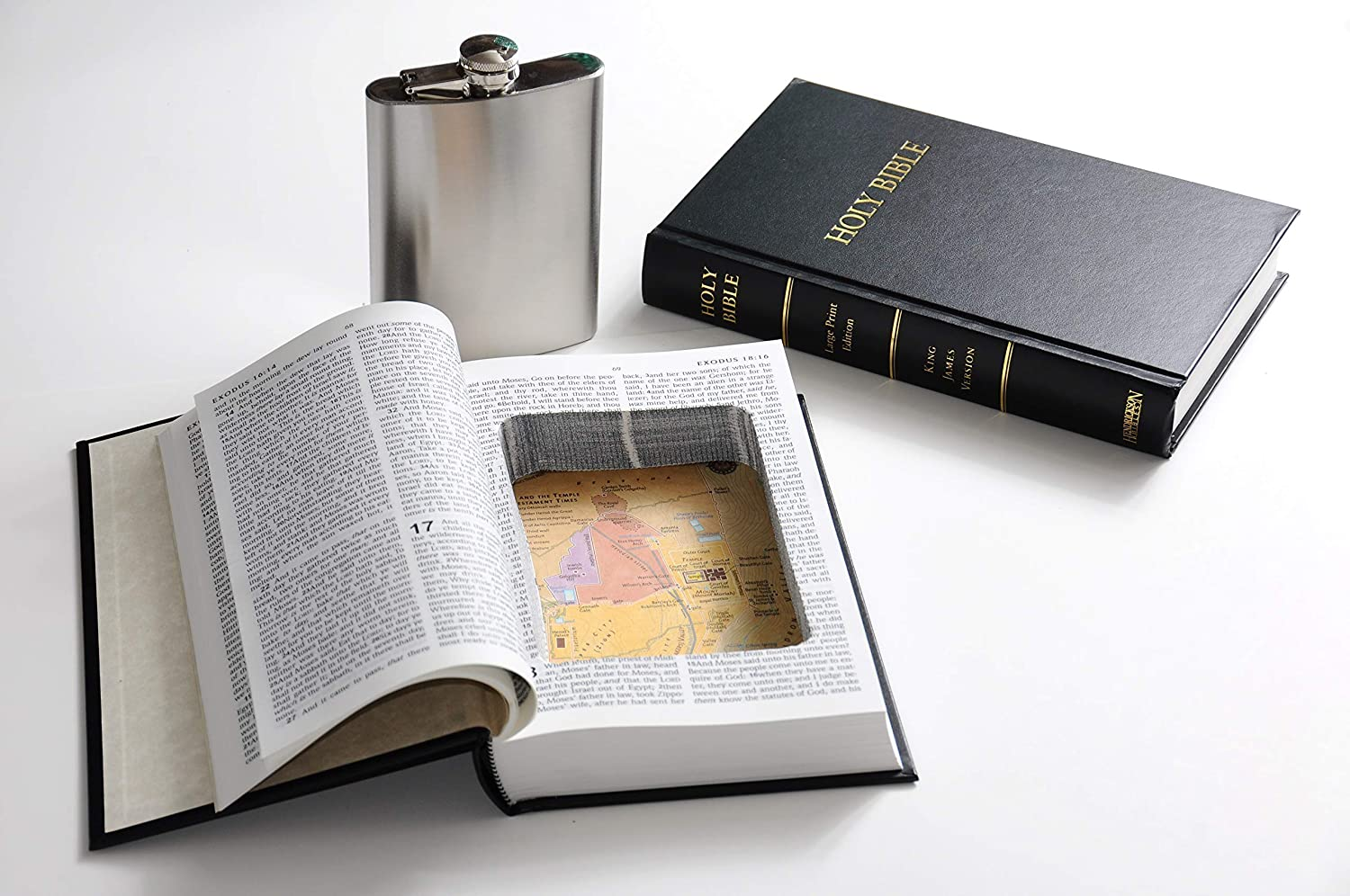 Angel or Devil Halloween Costume Accessory - Black Holy Bible Book Safe w/ 8oz Hidden Steel Flask - Nun Jesus Pope Priest Moses Supernatural