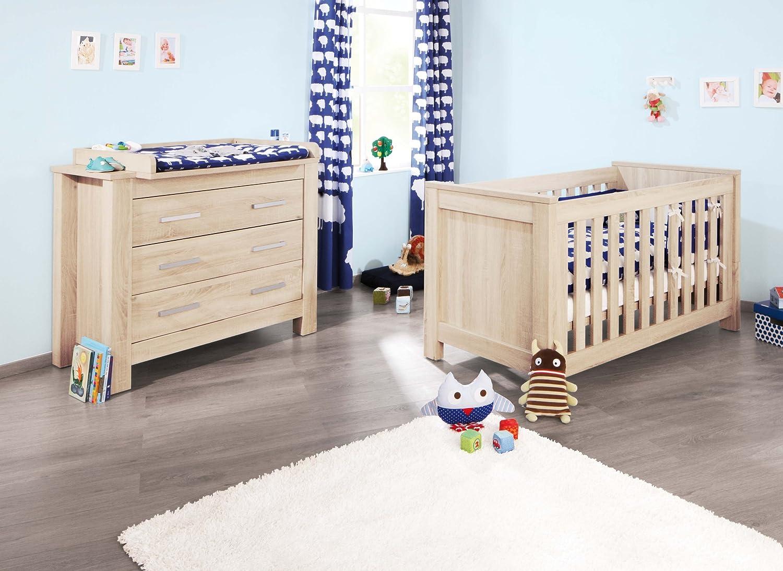 Pinolino Sparset Carus breit, 2-teilig, Kinderbett (140 x 70 cm) und breite Wickelkommode mit Wickelaufsatz, Eiche mit Echtholzstruktur (Art.-Nr. 09 00 18 B)