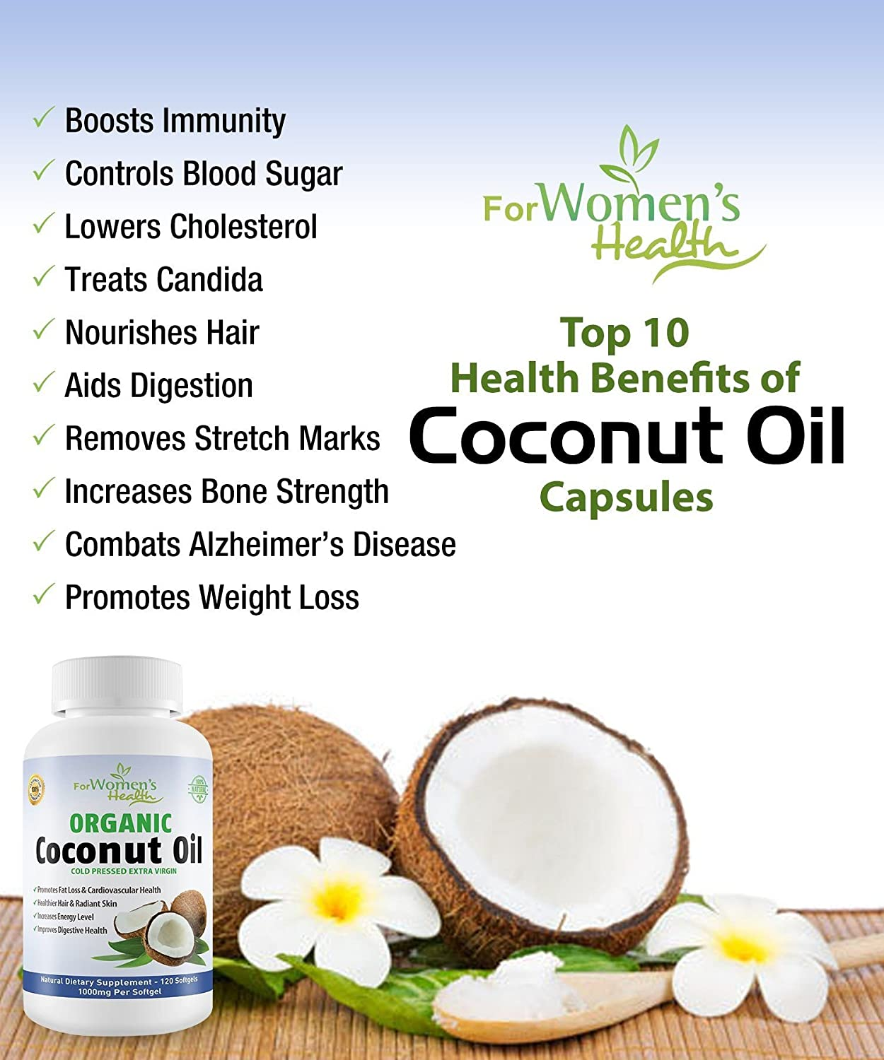Amazon.com: Organic Coconut Oil Capsules - Extra Virgin Coconut Oil Pills For Weight Loss, Healthy Hair & Skin - 120 Softgells - 2000 mg Per Serving ...