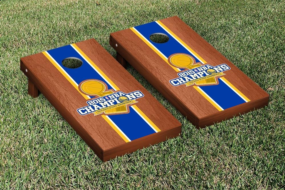 NBA Golden State Warriors 2015 NBA Champions Rosewood Stained Stripe Version Cornhole Set by Victory Tailgate