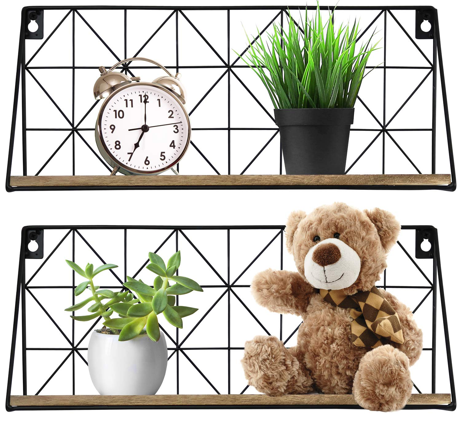Greenco Geometric Mounted Floating, Home Decor, Metal Wire and Rustic Wood Wall Storage Shelves for Bedroom, Living Room, Bathroom, Kitchen, Office and More – Set of 2