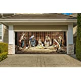 nativity scene banners for 2 car garage door covers outdoor 3d effect christmas full color house