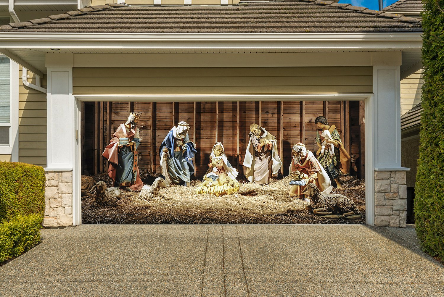 Nativity Scene Banners for 2 Car Garage Door Covers Outdoor 3D Effect Christmas Full Color House Billboard Garage Door Holiday Christmas Jesus Holy Night Decor Murals size 82x188 inches DAV217