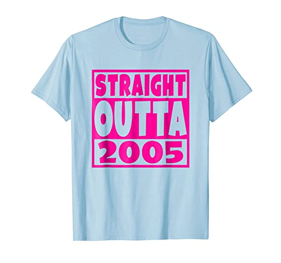 Mens Straight Outta 2005 T Shirt 13th Birthday Gift 13 Years Old 2XL Baby Blue