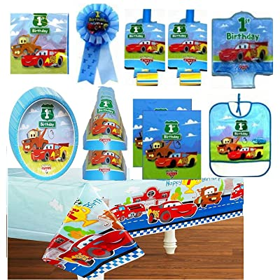 Cars 1st Birthday Party Supply Deluxe Set for 16 includes Plates, Napkins, Table Cover, Hats, Blowouts, Loot Bags, Candle, Bib, Ribbon: Toys & Games