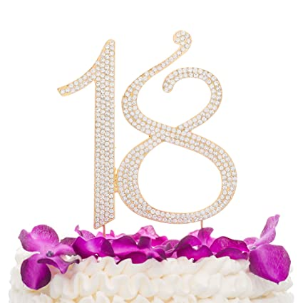 18 Cake Topper For 18th Birthday Number Party Supplies Decoration Ideas Gold