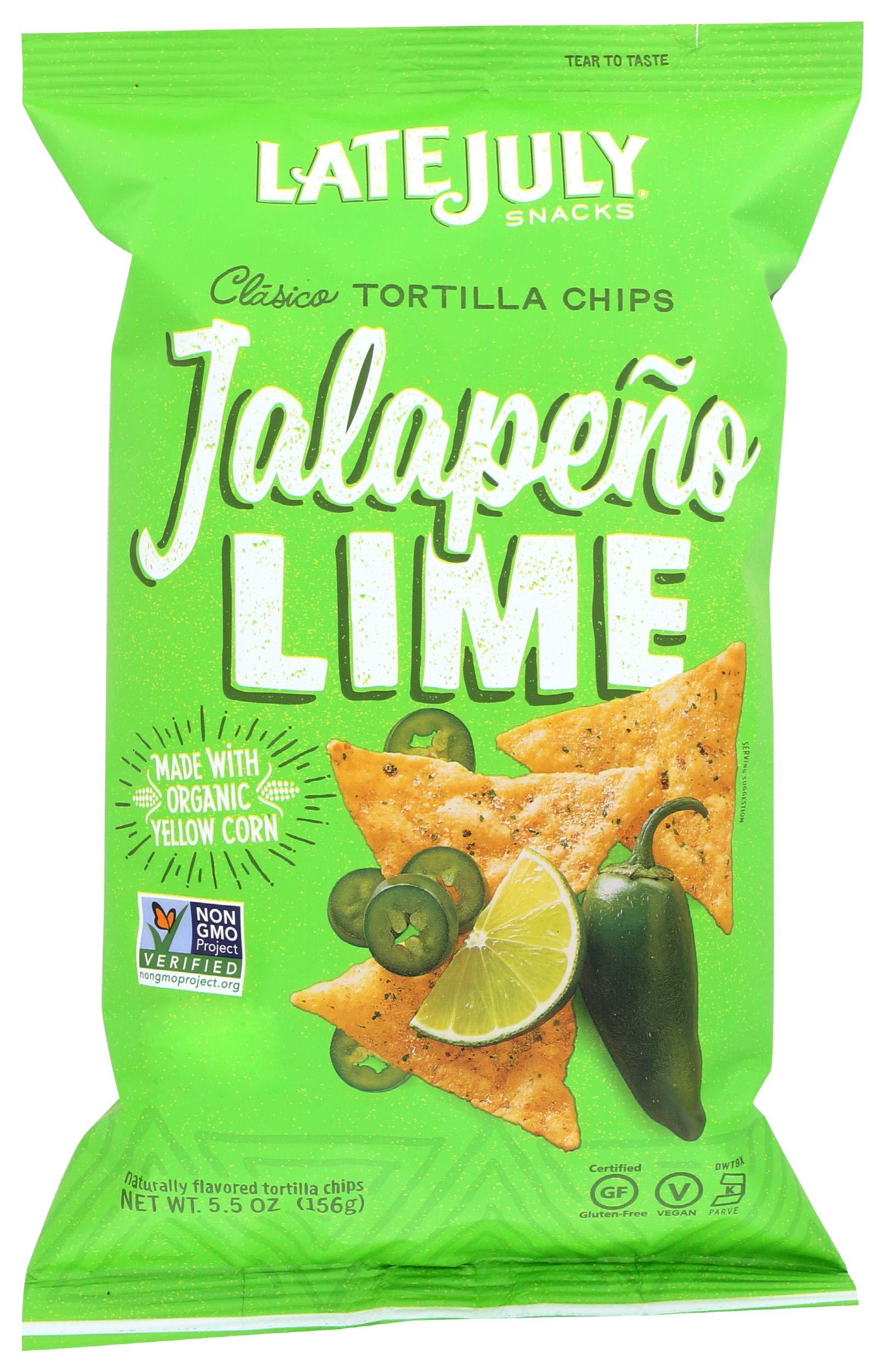 LATE JULY Snacks Clásico Jalapeño Lime Tortilla Chips, 5.5 oz. Bag