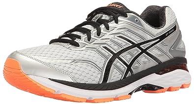 ASICS Men's GT-2000 5 Running Shoe, Silver/Black/Hot Orange,