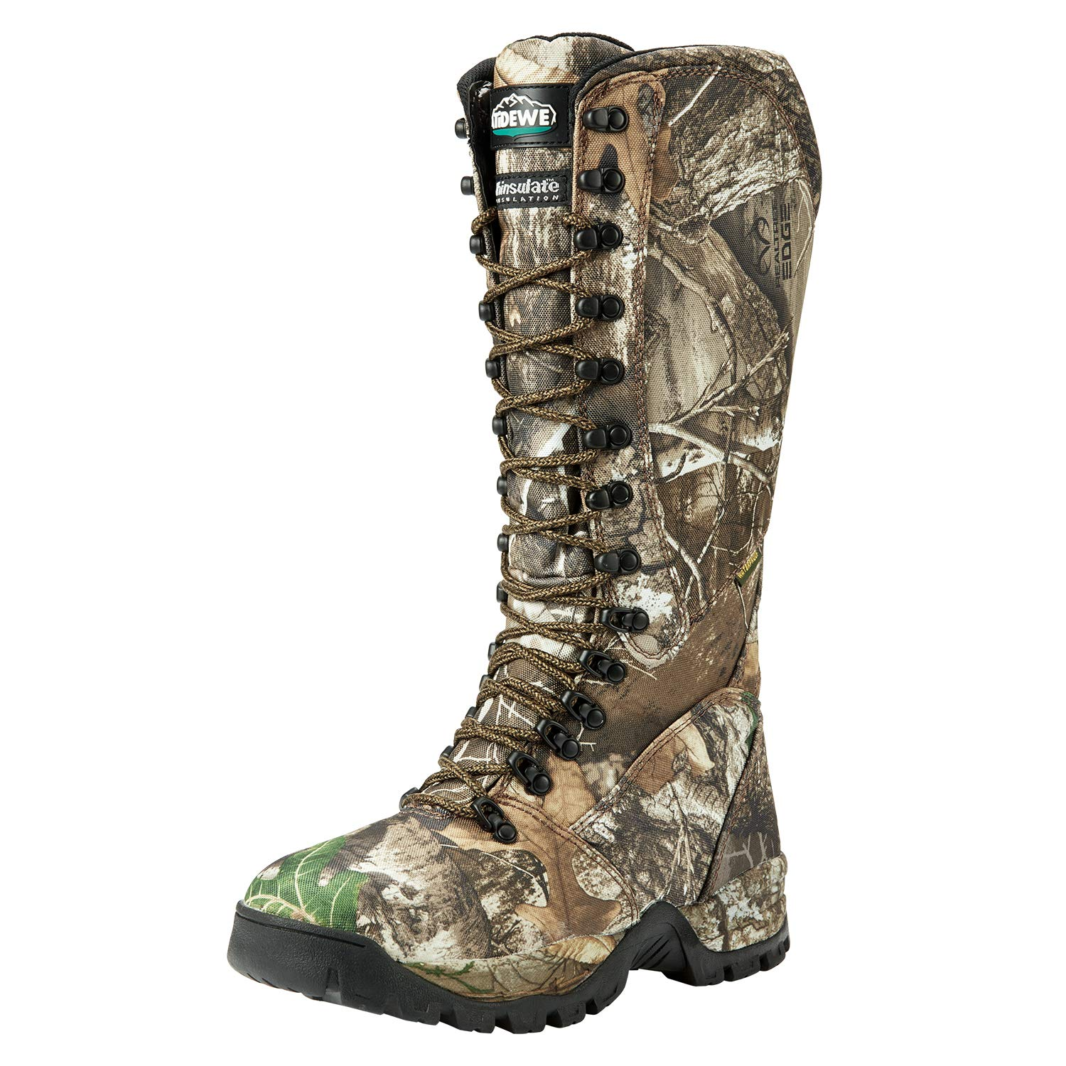 TideWe Hunting Boot for Men, Insulated 400G Men's Hunting Boot, 600D Durable Nylon Cloth Anti-Slip 16'' Breathable Side-Zip Hunting Boot Realtree Edge Camo Size 13
