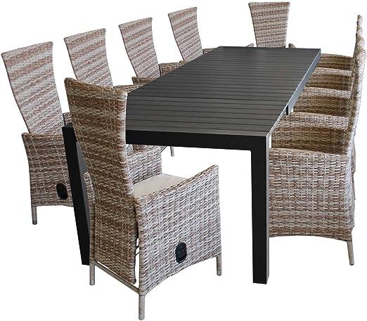 11 piezas. Juego de muebles de jardín de aluminio Polywood mesa extensible 224/284/344 x 100 cm + 10 sillas de jardín de polirratán con cojines, color natural: Amazon.es: Jardín