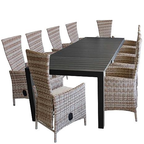 11 piezas. Juego de muebles de jardín aluminio polywood ...