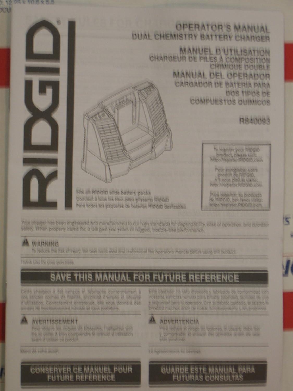 Ridgid R840093 9.6V - 18V Multi-Chemistry Charger