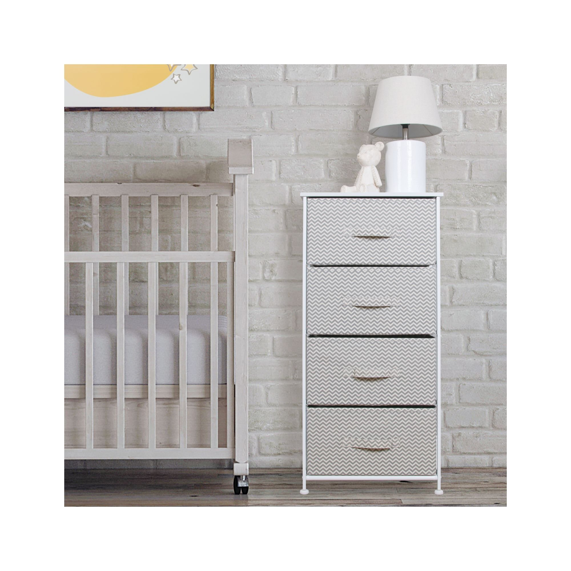 mDesign Vertical Furniture Dresser Storage Tower - Sturdy Steel Frame, Wood Top, Easy Pull Fabric Bins - Organizer for Bedroom, Hallway, Entryway, Closets - Chevron - 4 Drawers, Taupe/Natural/White by mDesign (Image #2)