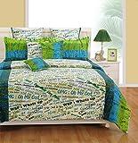 Swayam Eco Sparkle Text Print 140 TC Cotton Single Bedsheet with Pillow Cover - White