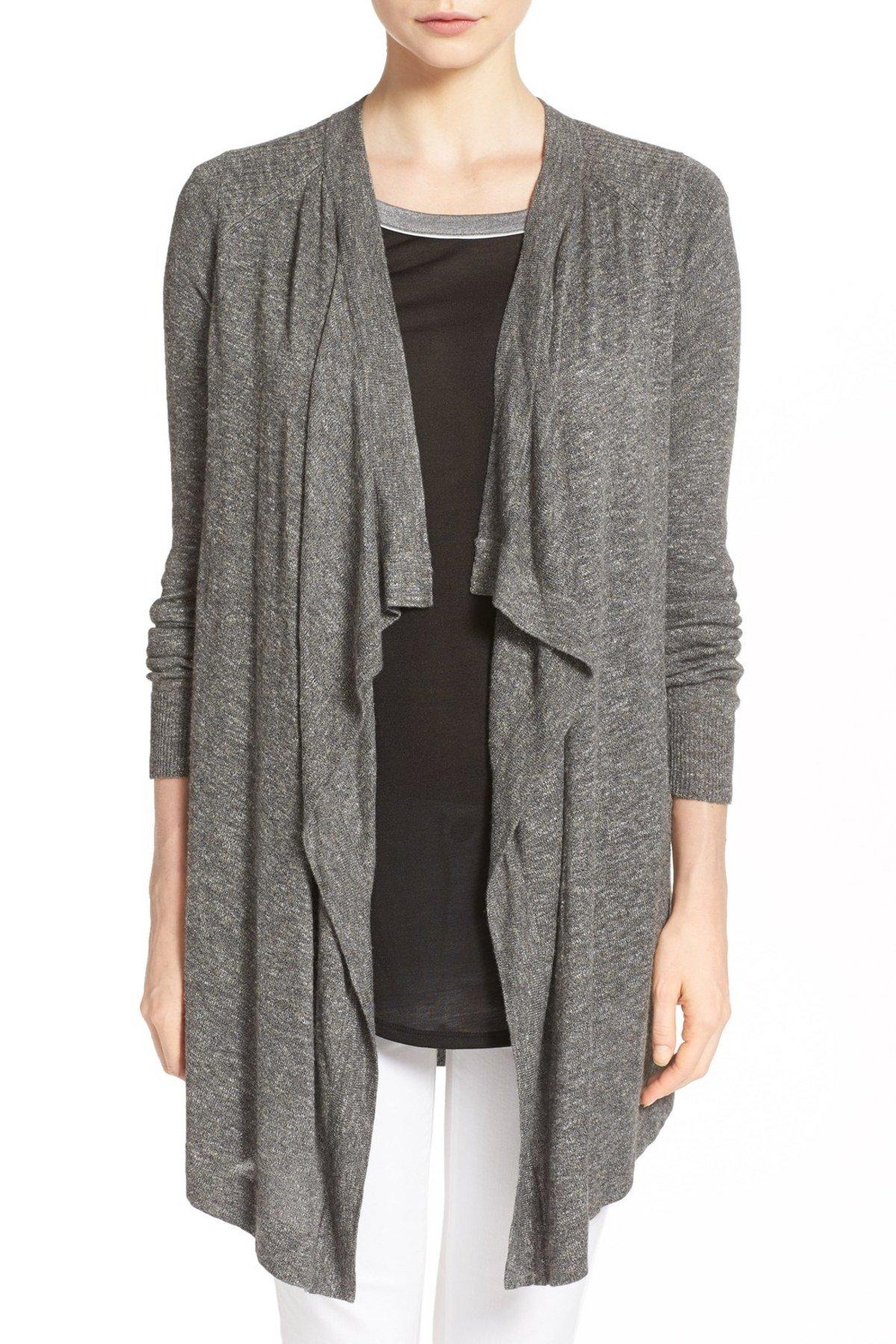 Vince. Women's Fine Gauge Slub Cardigan Sweater Heather Carbon (Gray) Size Small