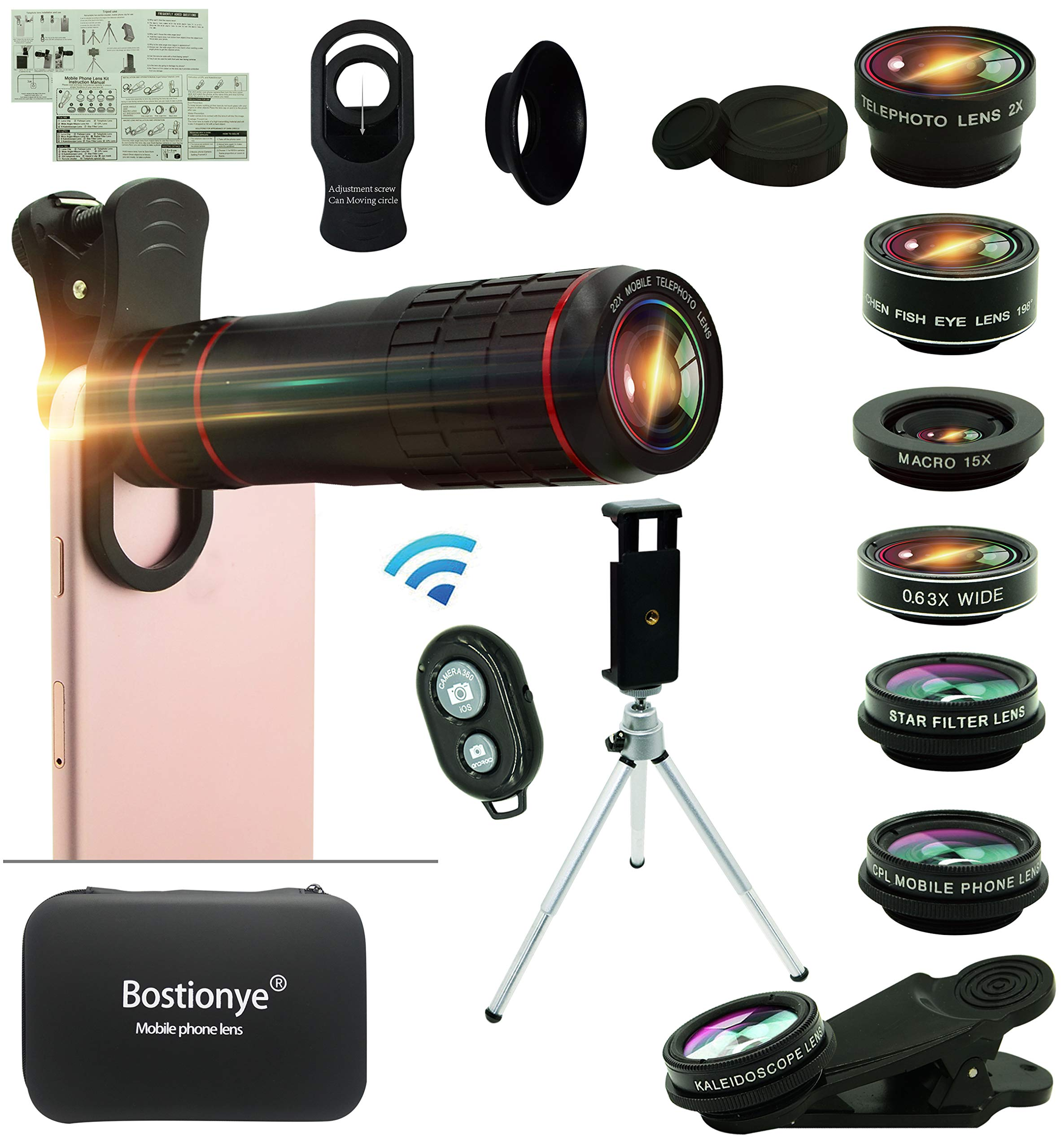 Cell Phone Camera Lens Kit,14 in 1 Universal 22x Zoom Telephoto,0.63Wide Angle+15X Macro+198°Fisheye+2X Telephoto+Kaleidoscope+CPL/Starlight/Eyemask/Tripod/Remote Shutter,For Iphone Smartphone (black) by Bostionye