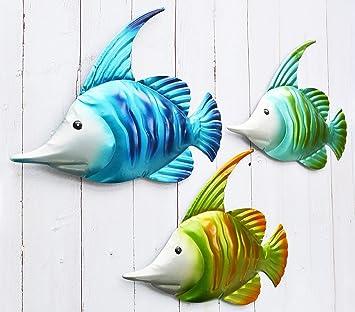 Giftme 5 Metal Fish Wall Art Graden Decor Set Of 3 Colorful Outdoor Or Indoor Wall Sculptures