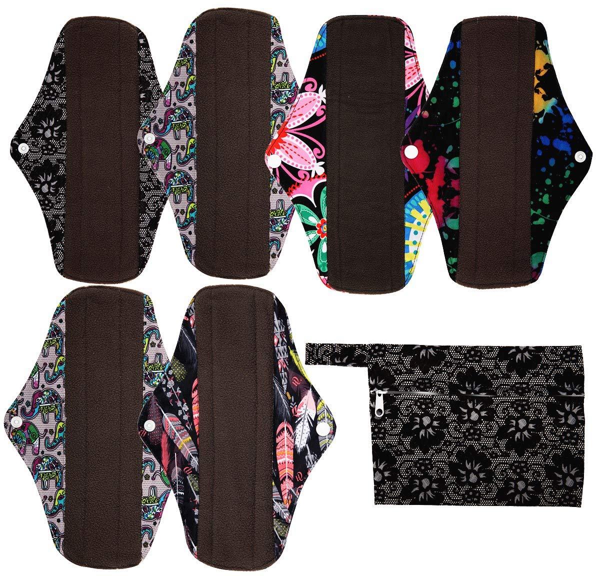7pcs Set 1pc Mini Wet Bag +6pcs 10 Inch Regular Charcoal Bamboo Mama Cloth/ Menstrual Pads/ Reusable Sanitary Pads (Black) by Hibaby
