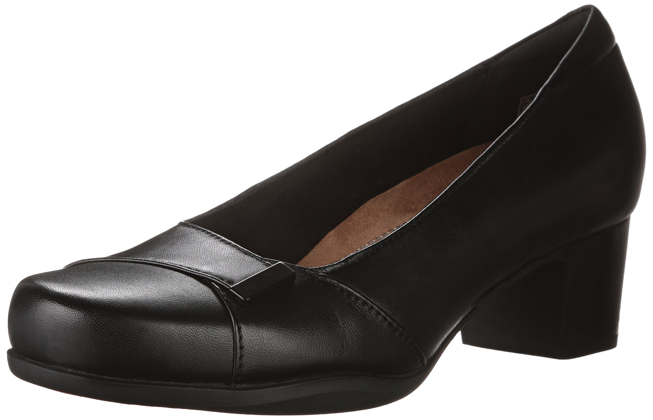 CLARKS Women's Rosalyn Belle Black Leather 9.5 D - Wide