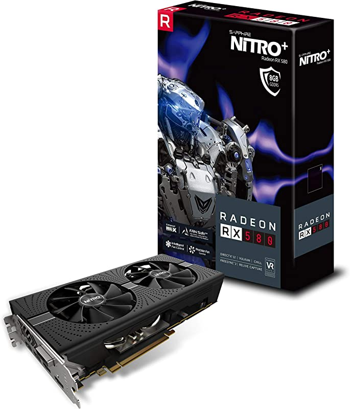 Sapphire 11265-01-20G Radeon NITRO+ Rx 580 8GB GDDR5 Dual HDMI/ DVI-D/ Dual DP with Backplate (UEFI) PCI-E Graphics Card