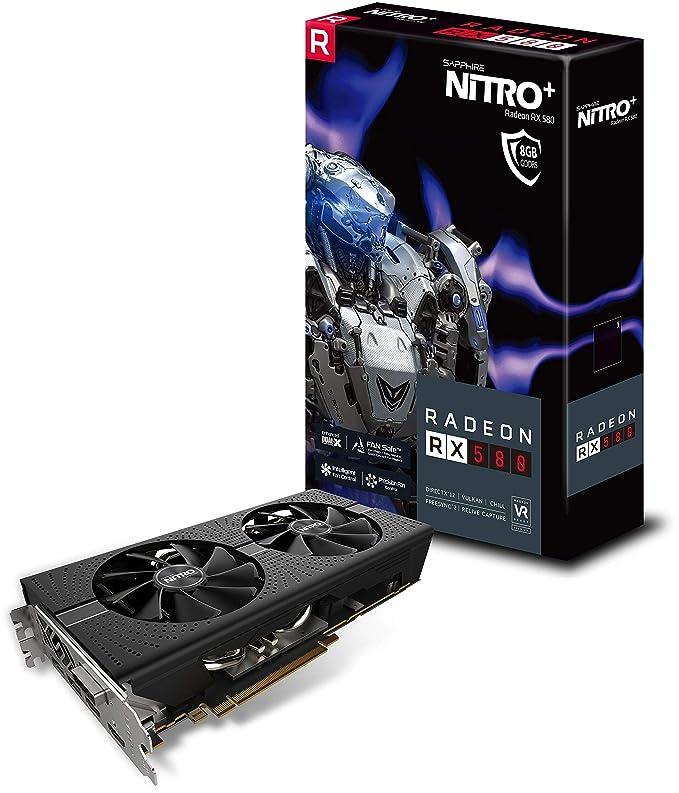 Sapphire RADEON RX 580 NITRO+ Radeon RX 580 8GB GDDR5 - Tarjeta gráfica (Radeon RX 580, 8 GB, GDDR5, 256 bit, 3840 x 2160 Pixeles, PCI Express x16 2.0)