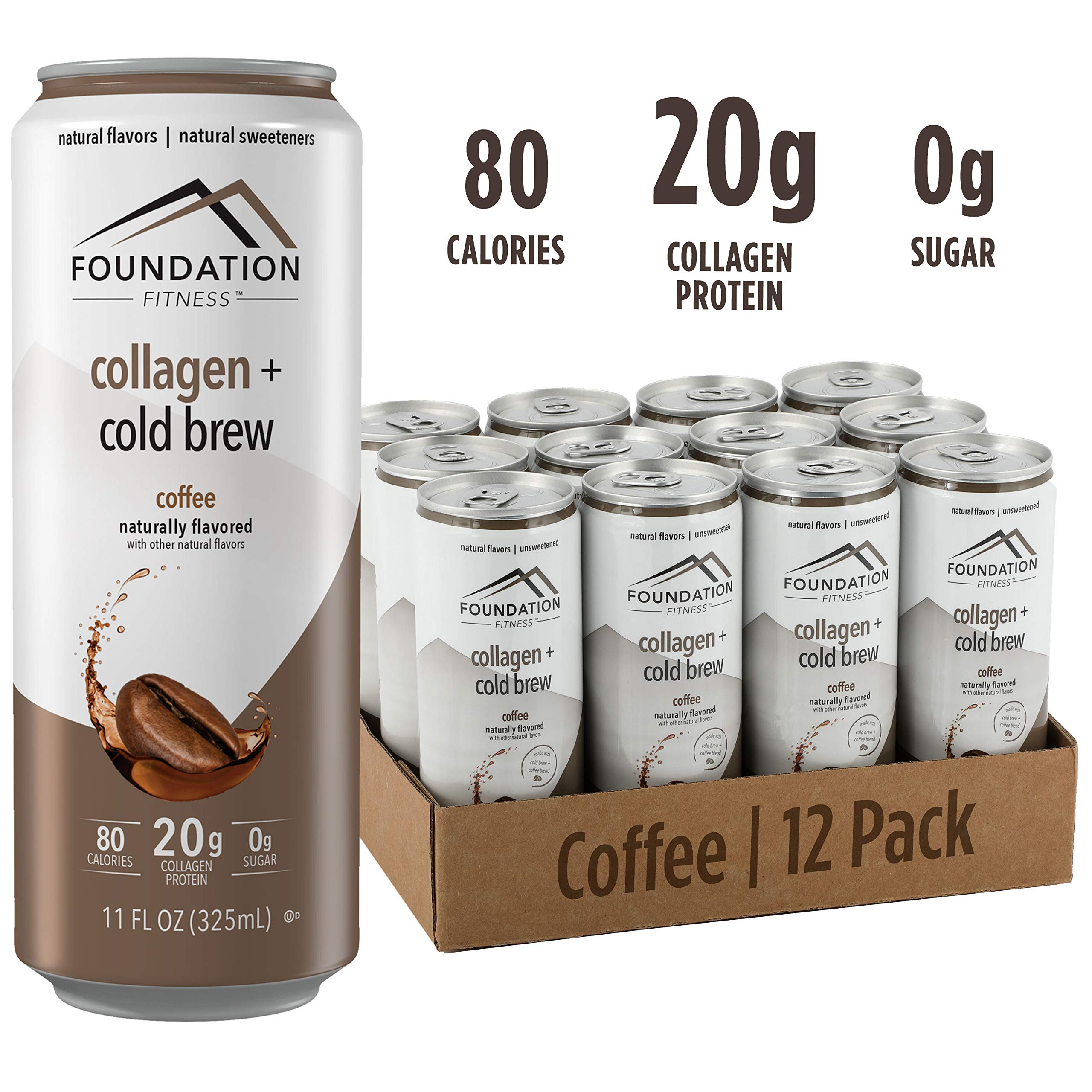 Foundation Fitness Cold Brew Coffee plus Collagen Protein, Unsweetened, Ready to Drink, 0g Sugar, 11 fl oz (Pack of 12) by Foundation Fitness