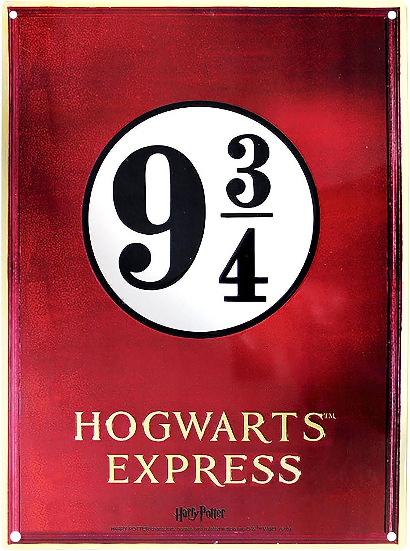 ABYstyle Harry Potter - Cartel (28 x 38 cm, Metal), diseño con Texto Gleis 9 3/4 Hogwarts Express, Color Rojo