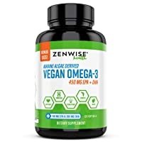 Vegan Omega 3 Supplement - Fish Oil Alternative Source for EPA & DHA Fatty Acids - for Joint Support & Immune System - Heart & Skin + Brain Health Booster - Marine Algal Formula - 120 Softgels