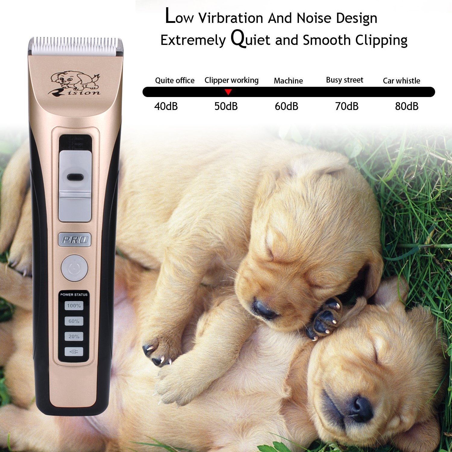 Pet Clippers, Rision Low Noise Rechargeable Cordless Dog Trimmers Professional Animal Grooming Shavers for Thick Hair Dogs, Cats, Rabbits and Horses by Rision (Image #3)