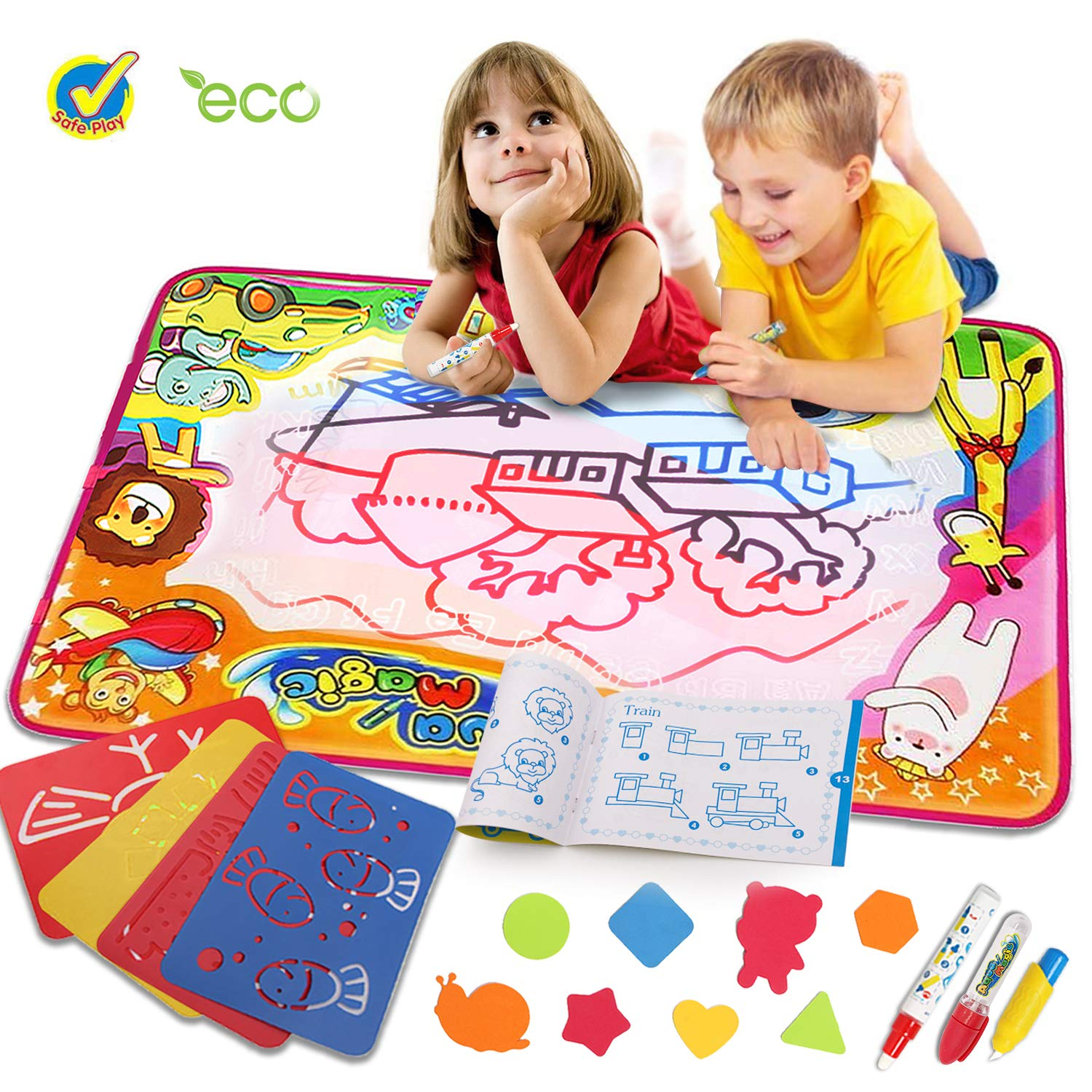 Water Drawing Mat - Painting Educational Learning Gift for Boys Girls by Bi-Smart