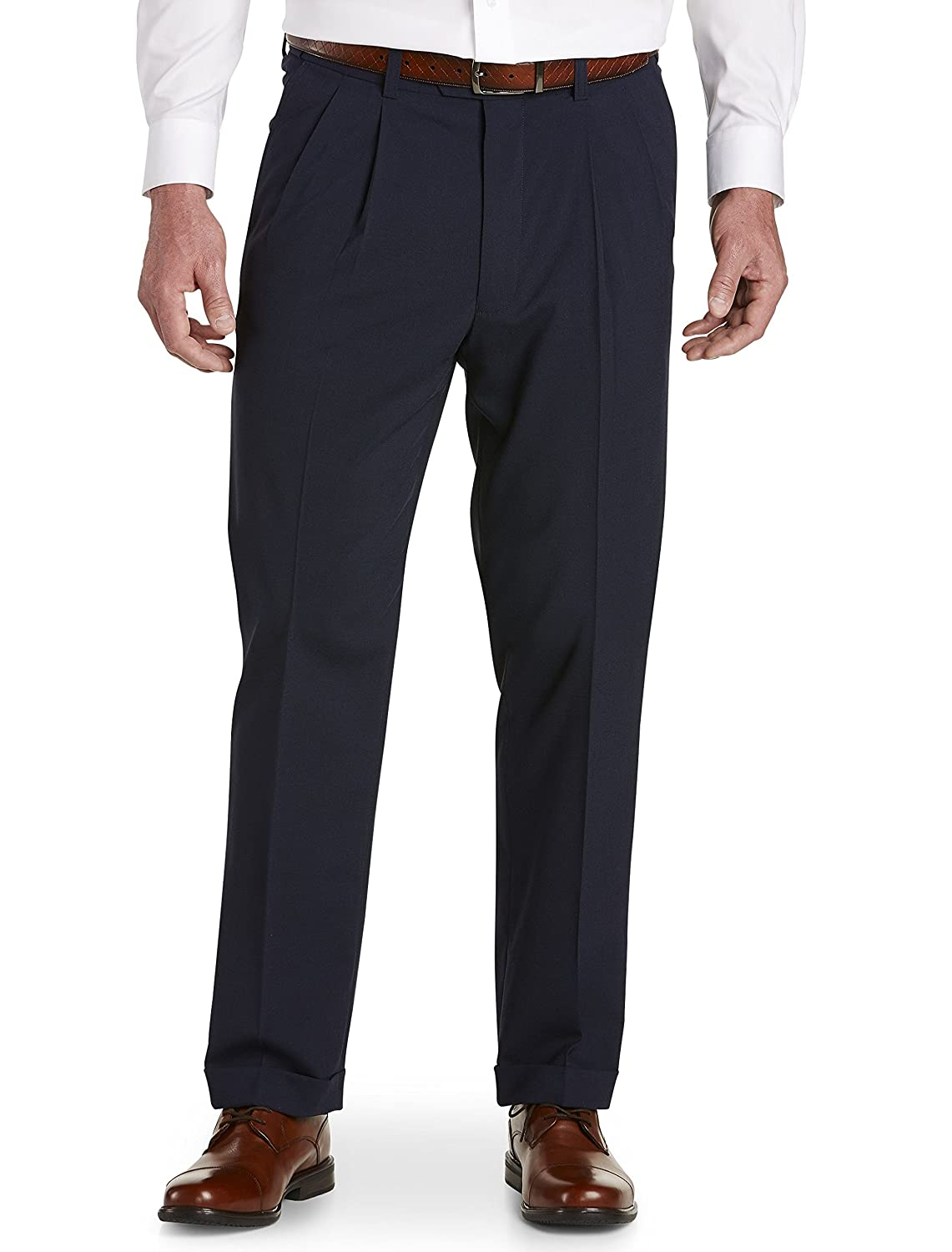 Gold Series by DXL Big and Tall Waist-Relaxer Hemmed Pleated Suit Pants