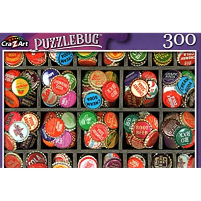 Tray of Colorful Vintage Bottlecaps - 300 Pieces Jigsaw Puzzle: Toys & Games