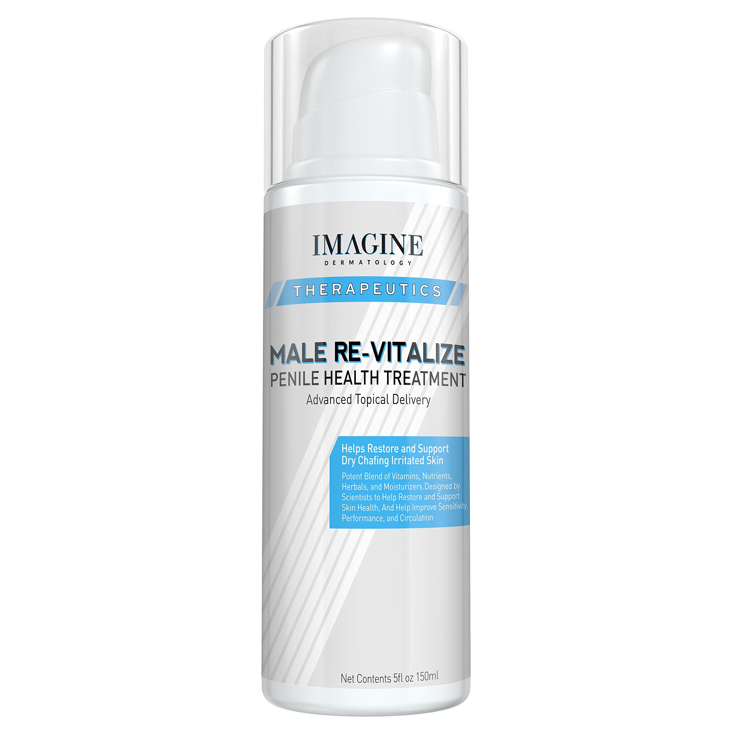 Penile Health Relief Cream No Mess Pump Soothe & Protect Red Irritated Chaffed Skin Male Re-Vitalize Large Value Size (5fl oz/ 150ml) 60 Day Return for Any Reason by Imagine Dermatology
