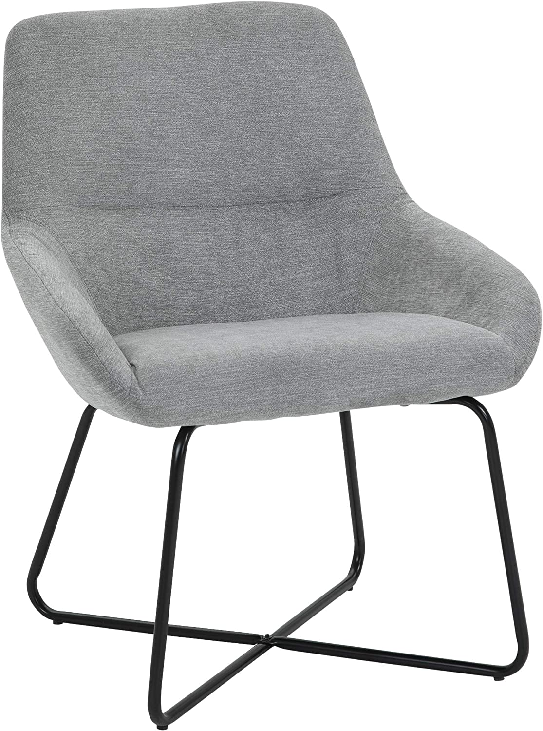 HOMCOM Modern Accent Chair Leisure Fabric Mid Back Chair Livingroom Funiture with X-Shaped Metal Frame and Curved Back, Grey/Black
