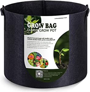 VIPARSPECTRA 10-Pack 5 Gallon Grow Bags - Thickened Nonwoven Aeration Fabric Pots Container with Heavy Duty Durable Handles for Garden Indoor Plants