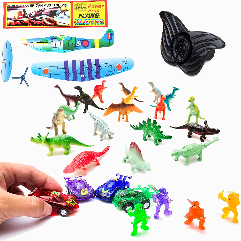 BC835 Boy Treasure Chest Party Favor Box - Ninja, Whistle, Dinosaur, Plane, 12 Pull Back Race Cars Fun Central
