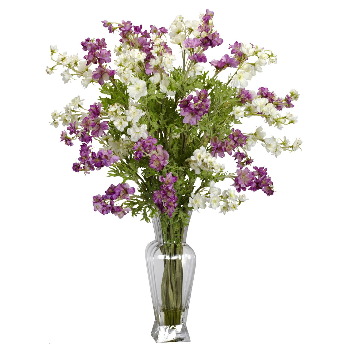 Nearly Natural 1253 Dancing Daisy Silk Flower Arrangement, Purple/White 1253-AS
